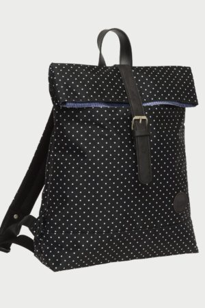 Enter Fold Top Backpack Black/White Polka Dot Print Rucksack