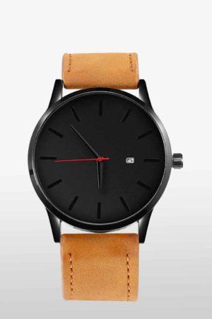Edelstahl Herren Uhr Tan Edition mit Leder-Armband Cognac